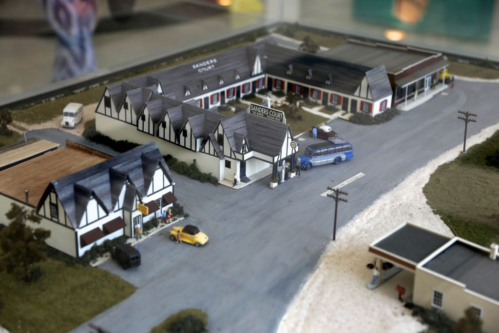 Model of the Sanders Cafe and Hotel originally located on this site.