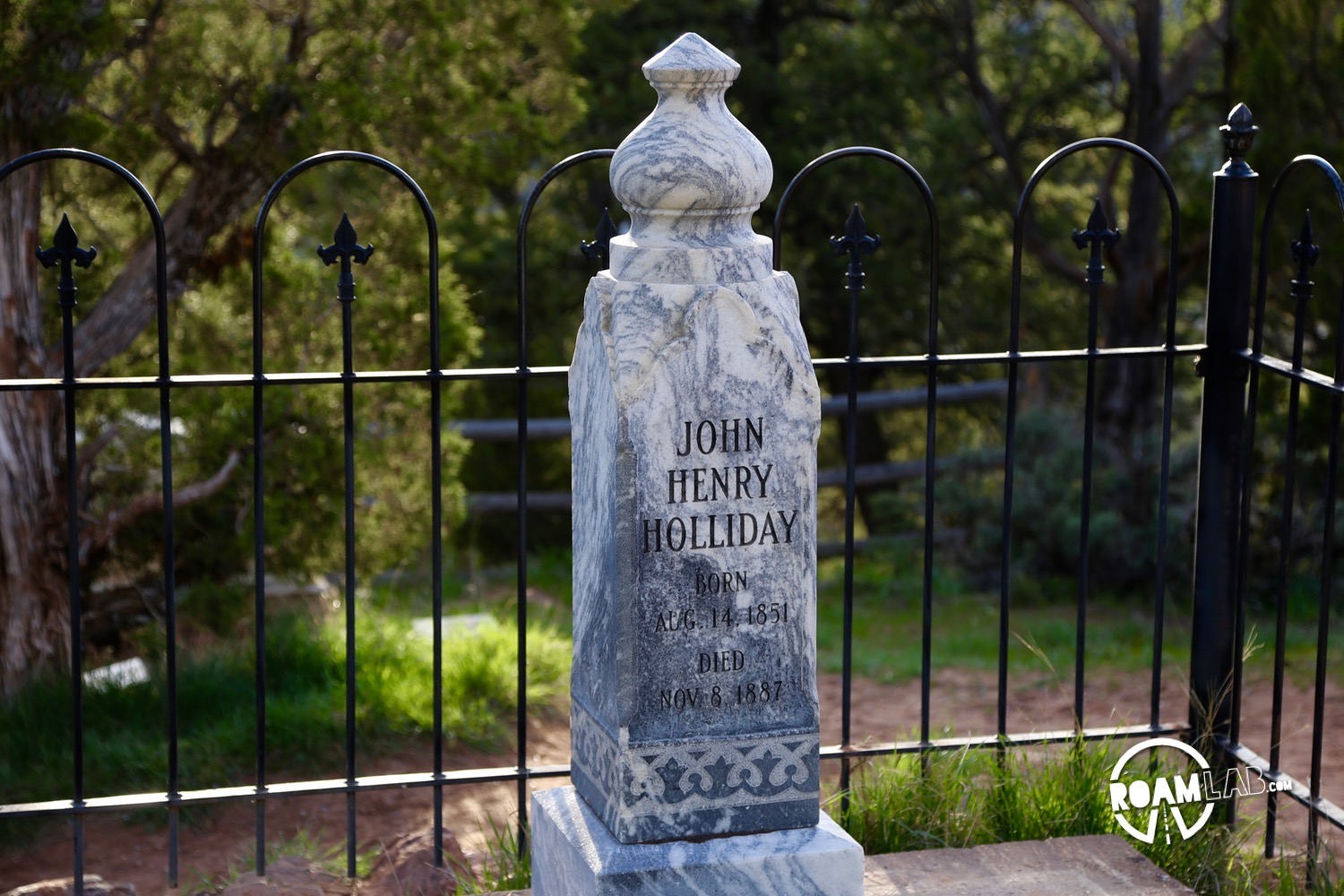 The grave marker for Doc Holiday...which does not mark Holiday's grave. Or does it?