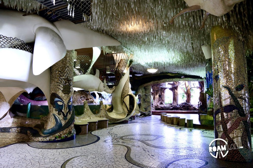 The main floor of the City Museum quickly sets the tone, with tubes, mosaics, and a giant whale.