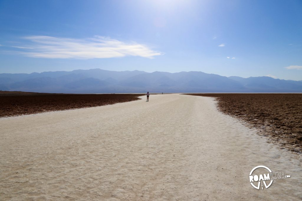 The worn down lake bed trail by millions of tourists visiting Badwater, the lowest point in the United States.