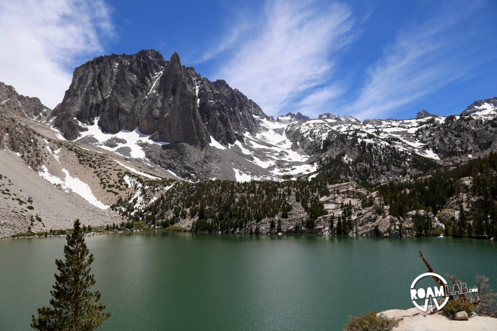 Second Lake, among the scenic Big Pine Lakes, below North Palisade, the third highest peak in Sierra Nevada Mountain Range.