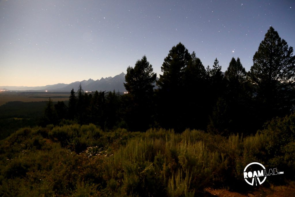 The Grand Tetons peak out behind the trees and brush of Signal Mountain. A nearly full moon casts a gradient across the sky washing out the stars from the left.