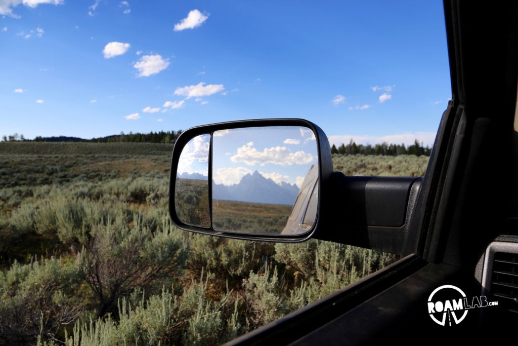 Nothing is more relaxing than seeing the Tetons in my mirror and an empty road ahead of me.