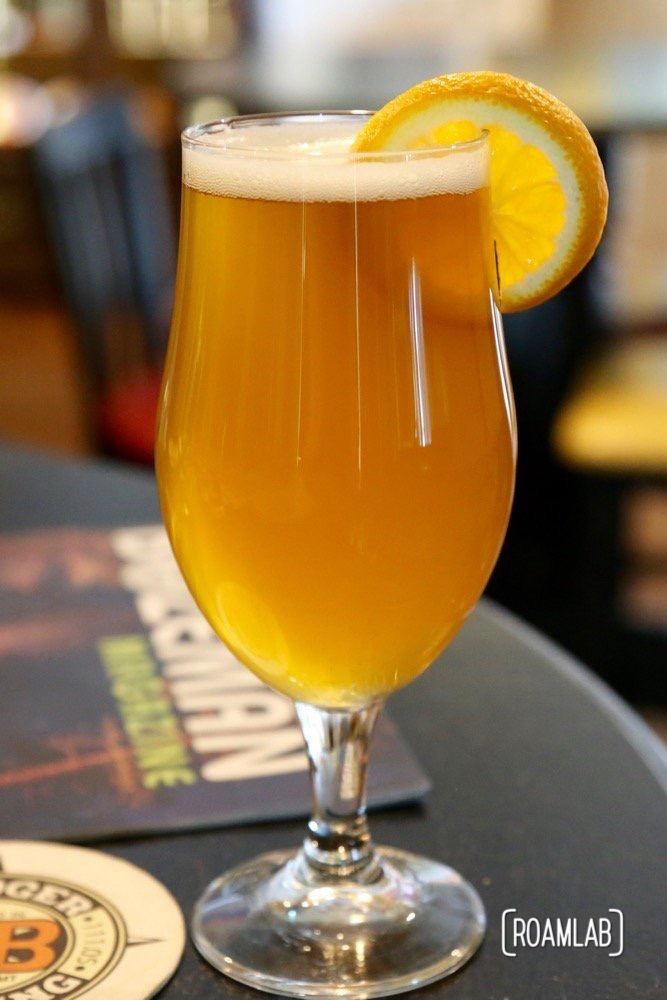 We settled on sharing a pint of the Bone Dust White Ale from Bridger Brewing Company.