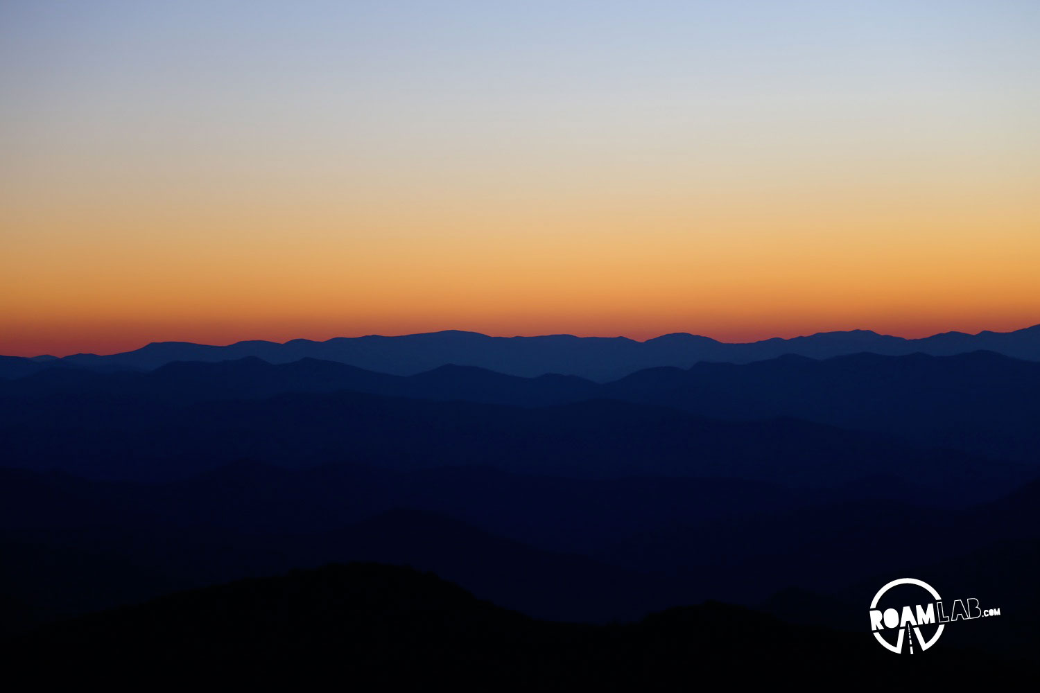 Blue Ridge Sunset vision of the Great Smoky Mountains National Park from the Blue Ridge Parkway.