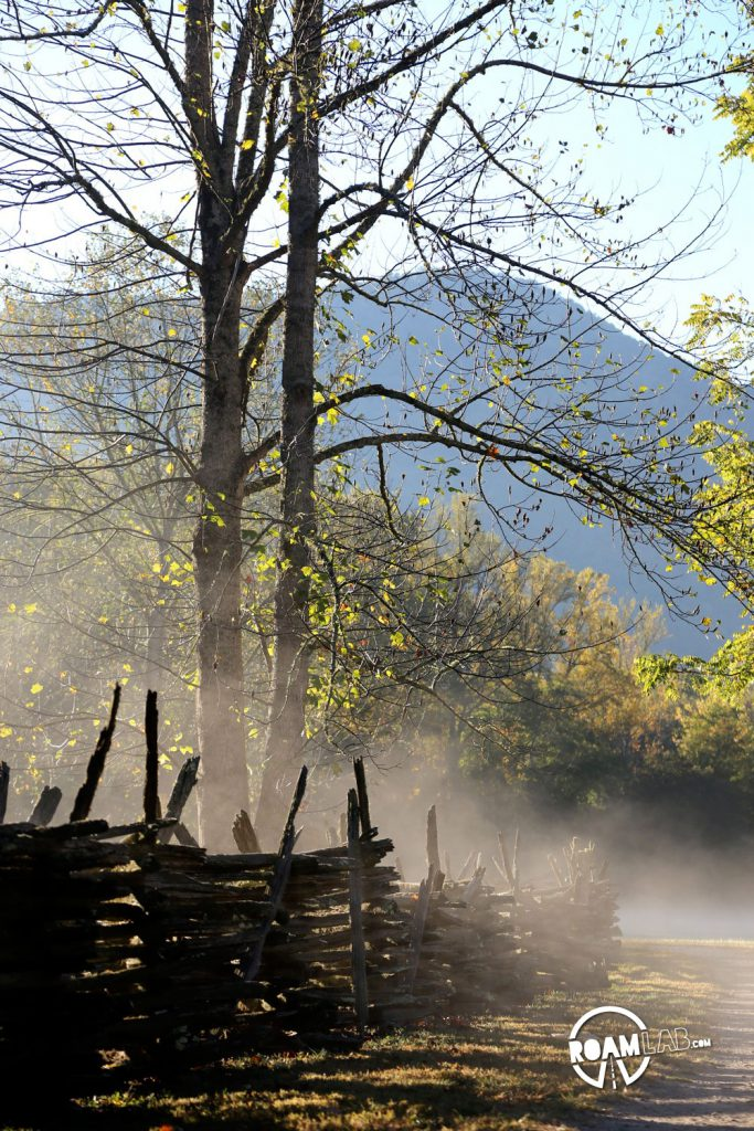 The dawn mist lay heavily over the Mountain Farm Museum in the Great Smoky Mountains National Park