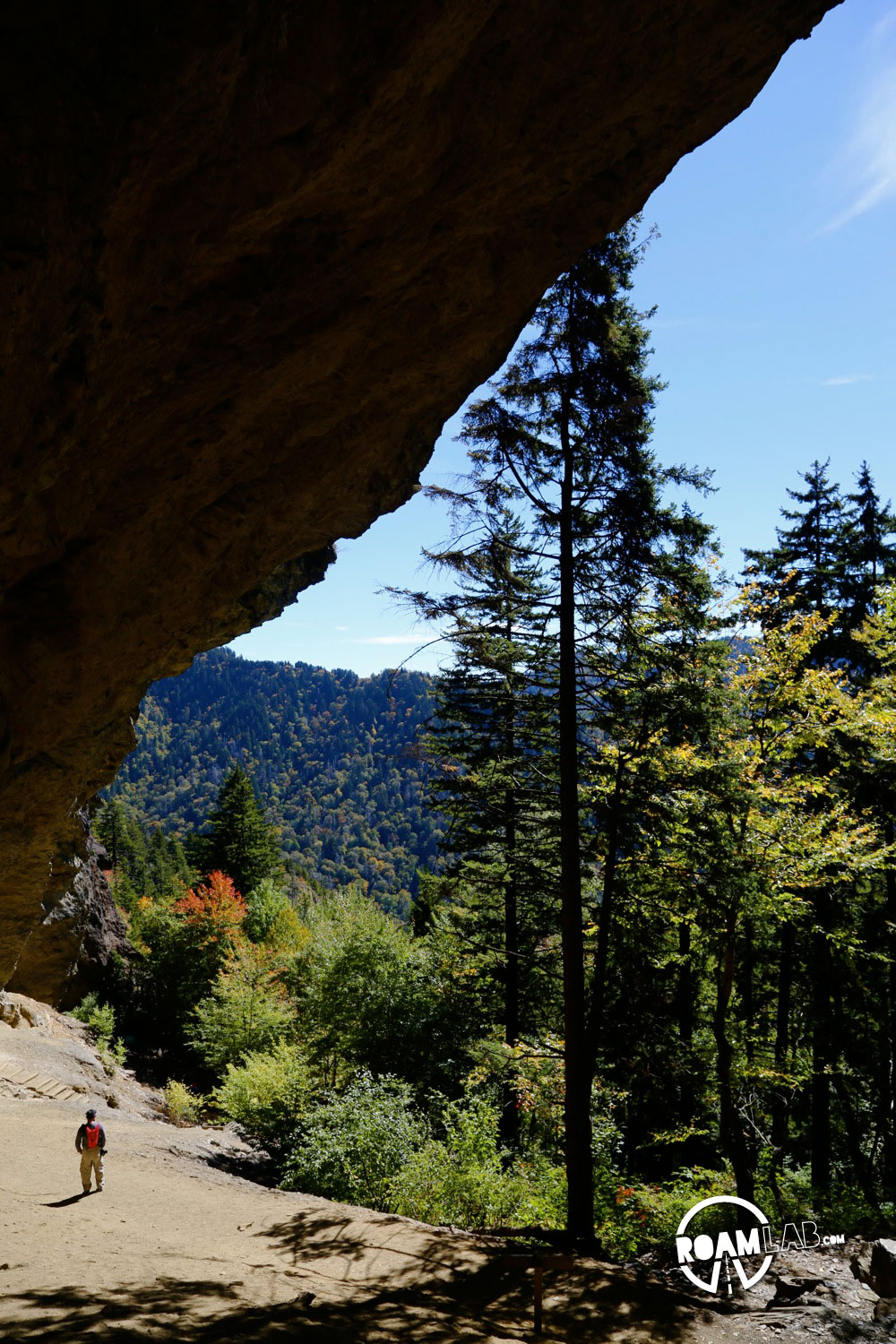 View from under the rock overhang known as Alum Cave in the Great Smoky Mountains National Park.