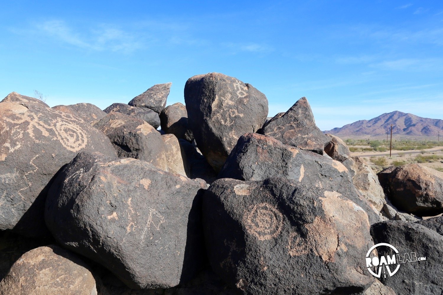 Painted Rock Petroglyph Site is barely off highway 8 and a delightful break from the road.