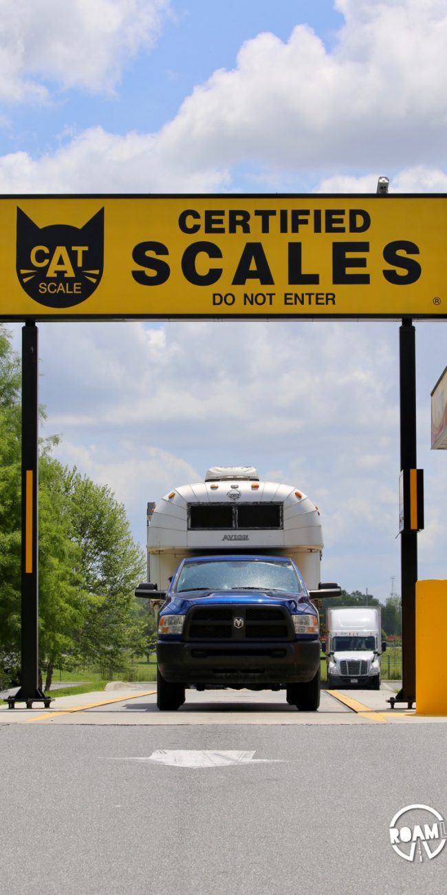 Weighing a 1970 Avion C11 truck camper at the truck stop CAT scales.