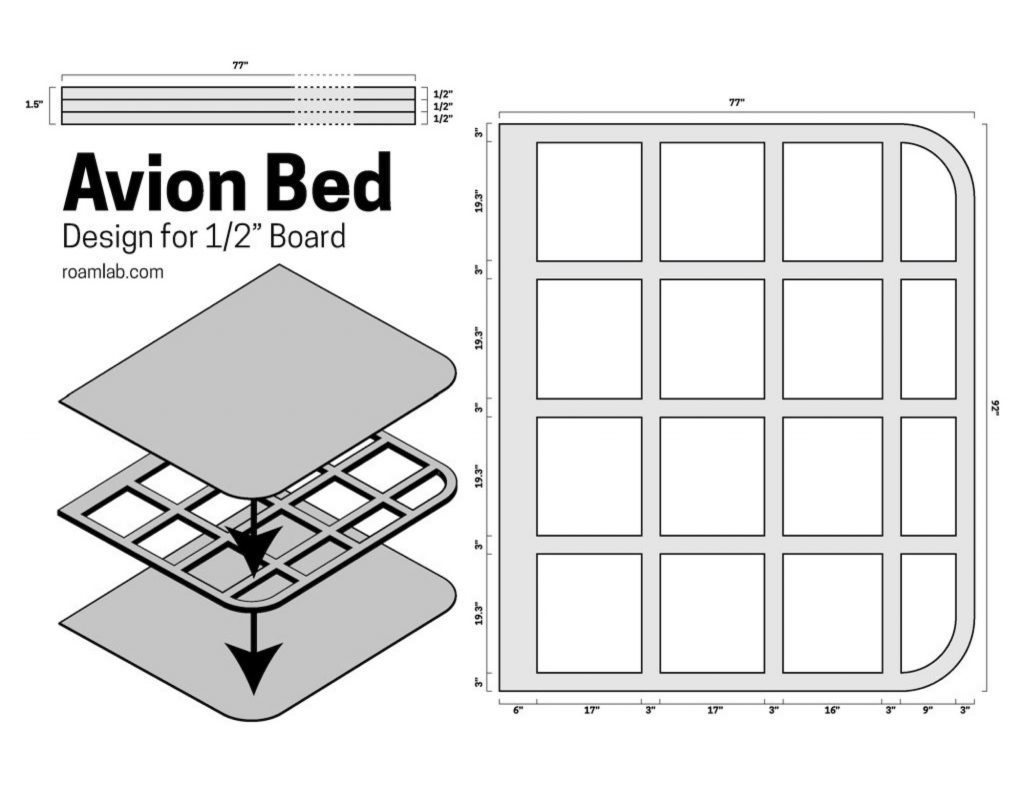 """Design for and Avion Bed with a 1/2"""" board"""