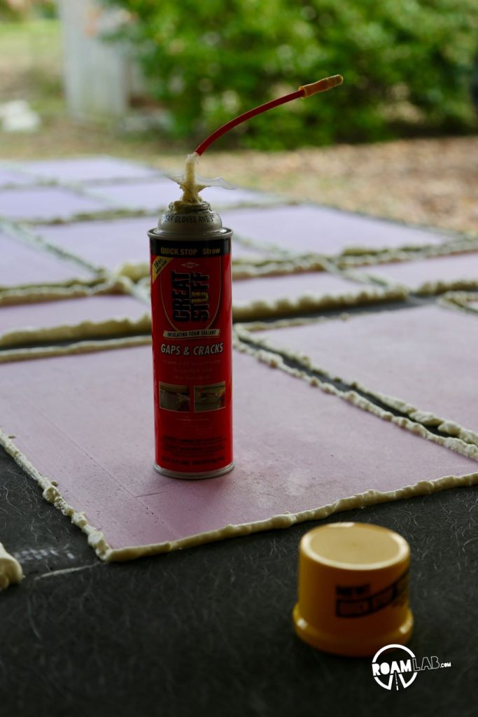 As I am using a simple box cutter to cut out the insulation board, there are imperfect gaps left between the board and the fiberglas skeleton. To fill in these gaps and optimize insulation, we are using Great Stuff Insulating Foam Sealant.