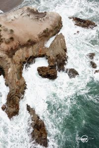 Rock formations carved by the ocean in Montaña de Oro State Park