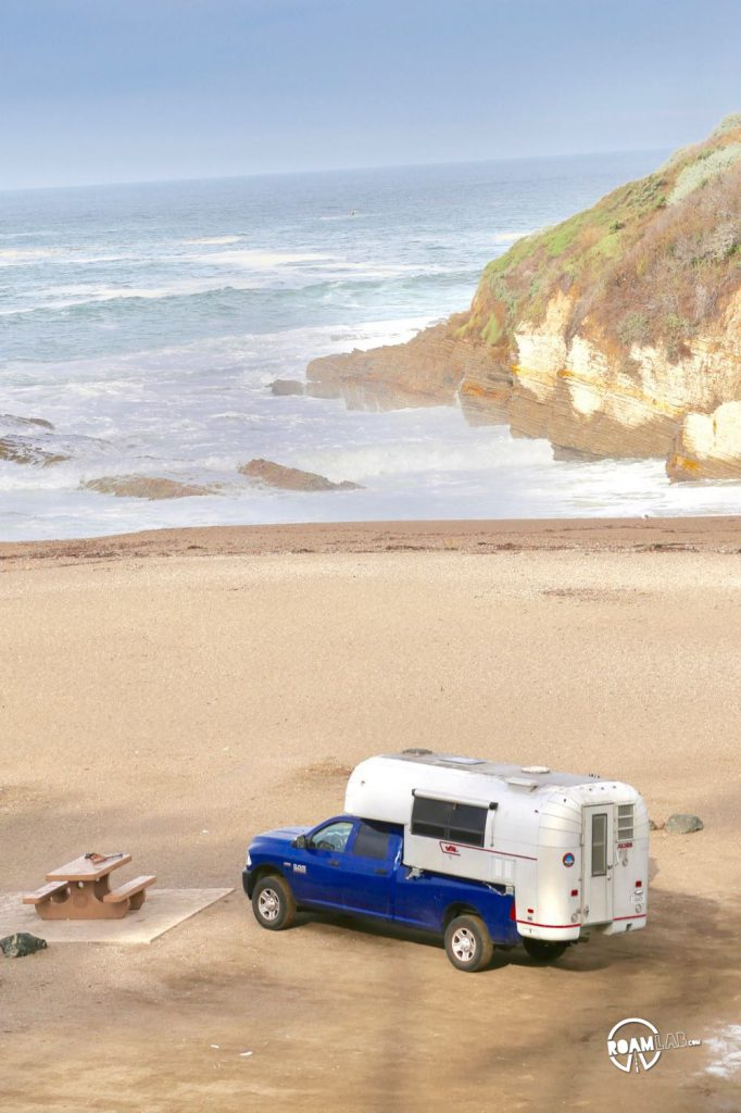 Avion Ultra C11 truck camper down on the beach in Montaña de Oro State Park