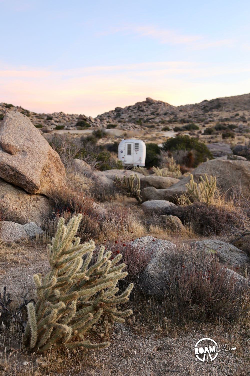 Morning dawns on our Avion Ultra C11 truck camper in Culp Valley Primitive Campground, Anza-Borrego Desert State Park