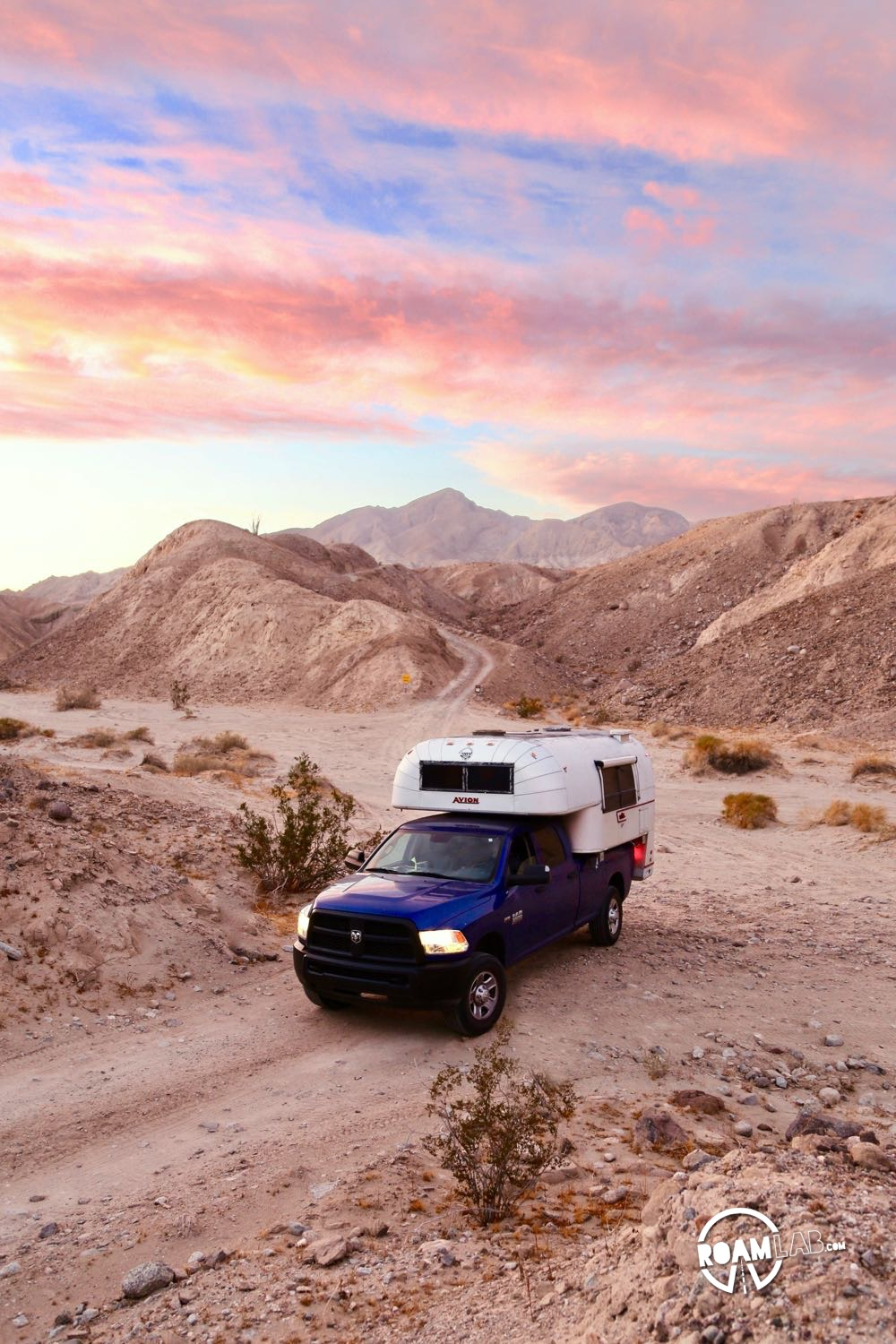 A triumphant departure from the Palm Slot Canyon in Anza-Borrego Desert State Park with our Avion Ultra C11 truck camper