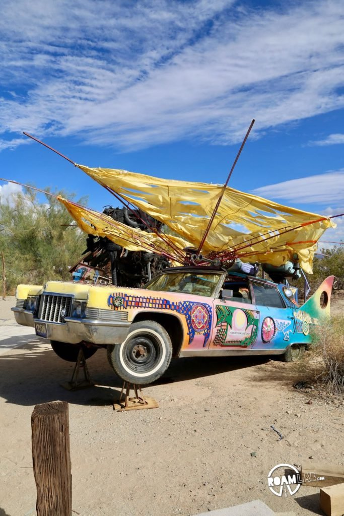 Flying car on display in East Jesus, Slab City