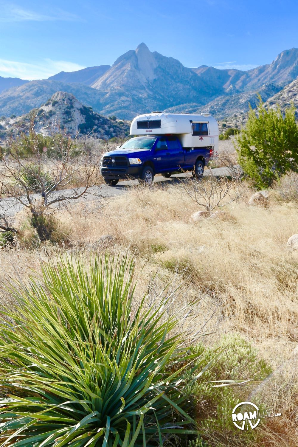 Leaving Aguirre Spring Campground with the Avion Ultra truck camper