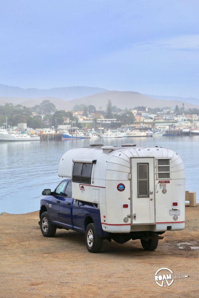 Looking out over Morro Bay in out Avion Ultra truck camper.