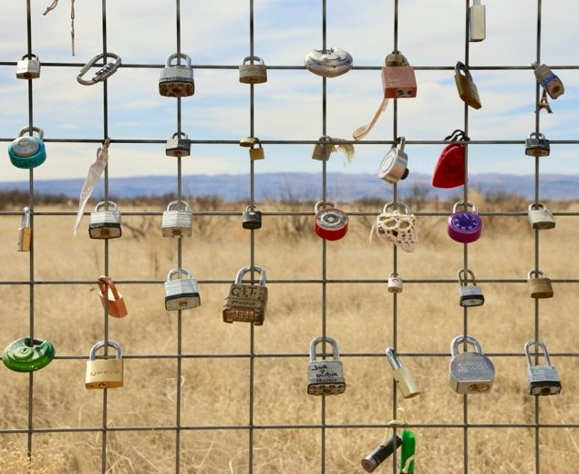 Padlocks outside Marfa, Texas
