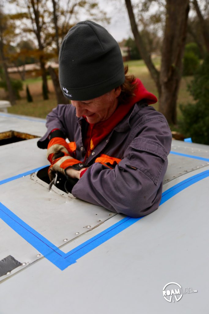 Installing a roof hatch into an Avion truck camper may be more complicated than expected but it's totally worth it!