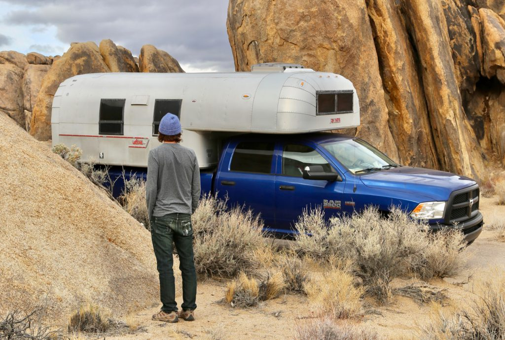 1970 Avion C11 truck camper overlanding in the Alabama Hills of California's Eastern Sierras.