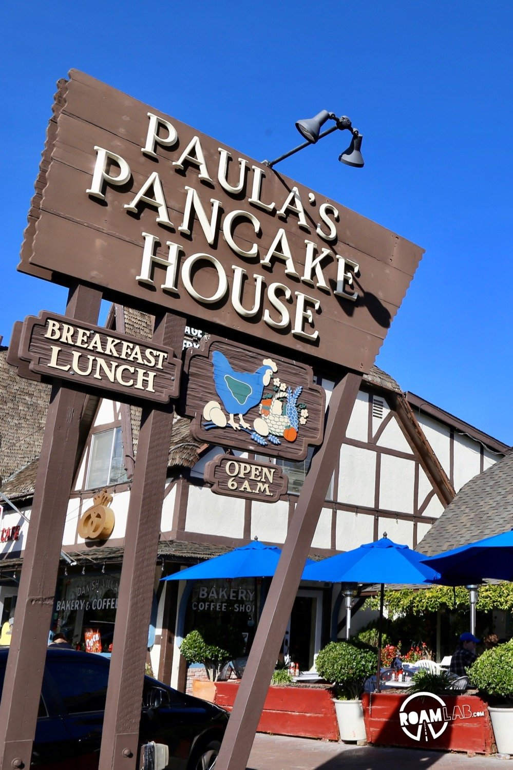 It's 10AM but I am waiting to eat because we are half an hour outside of Solvang, California and I'm craving Danish pancakes from Paula's Pancake House.