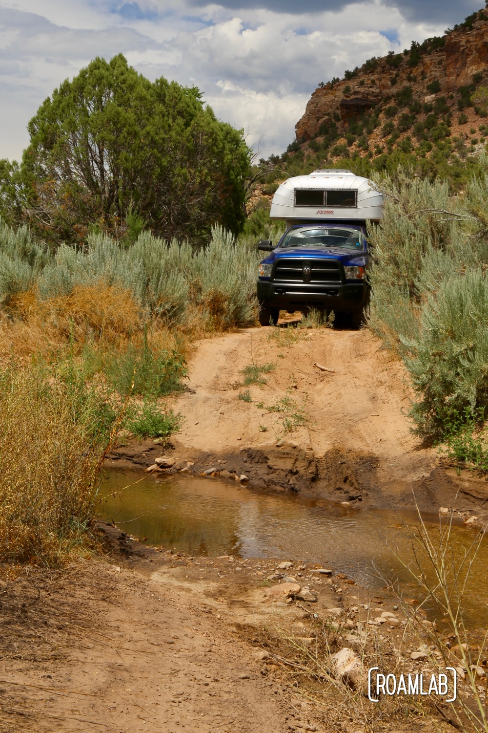 There are a few creak crossings along the trail. While the water is never that deep, the entries always have me concerned that we will bottom out and damage the rear end of the camper.