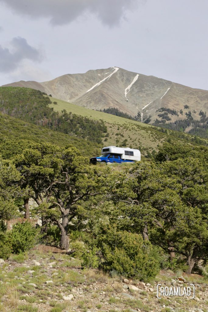 Perched in a truck camper at Zapata Falls Campground, outside Great Sand Dunes National Park, Colorado.