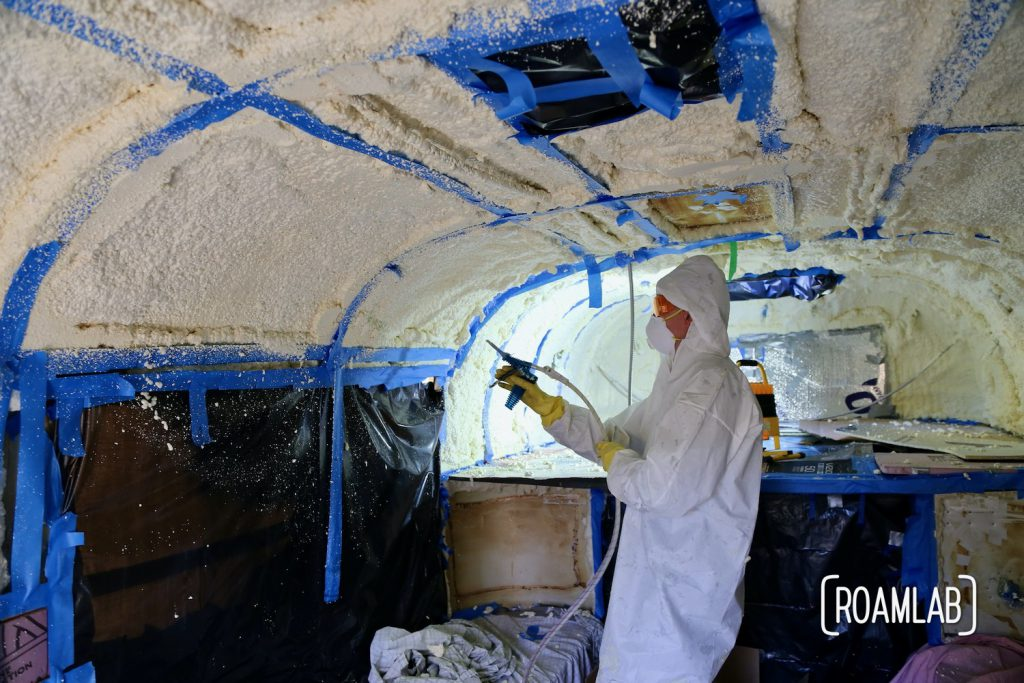 Keep the cold out and cut back on condensation with a DIY demonstration: applying closed cell spray foam in an aluminum 1970 Avion C11 truck camper.