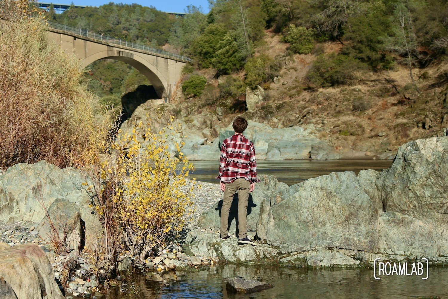 No Hands Bridge off highway 49 is a hiking destination crossing the North Fork of the American River in the California's Auburn State Recreation Area.