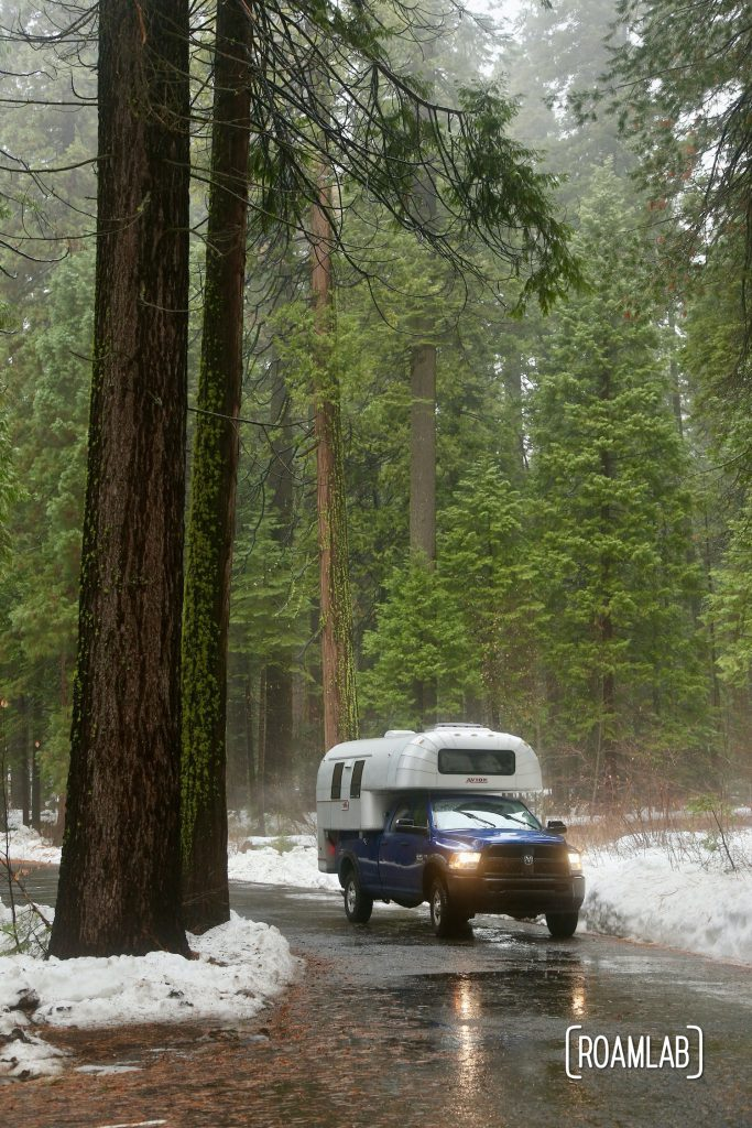 Hiking the North Grove Trail in the snow of Calaveras Big Trees State Park in the Sierras outside of Murphys, California and Highway 49.