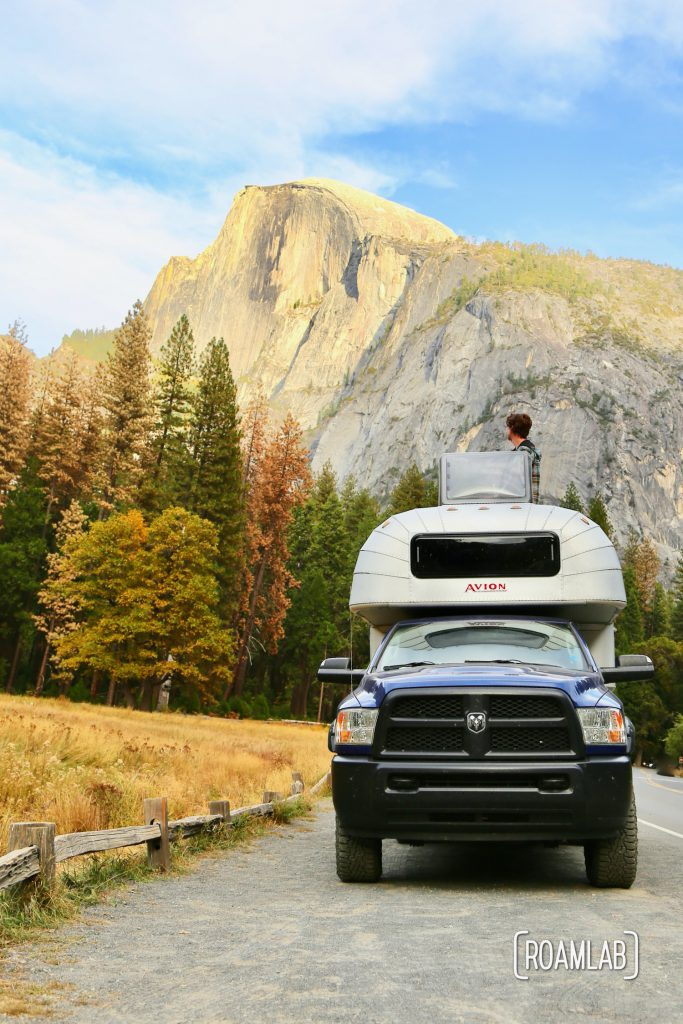 Braving traffic to see Half Dome and El Capitan in Yosemite National Park.