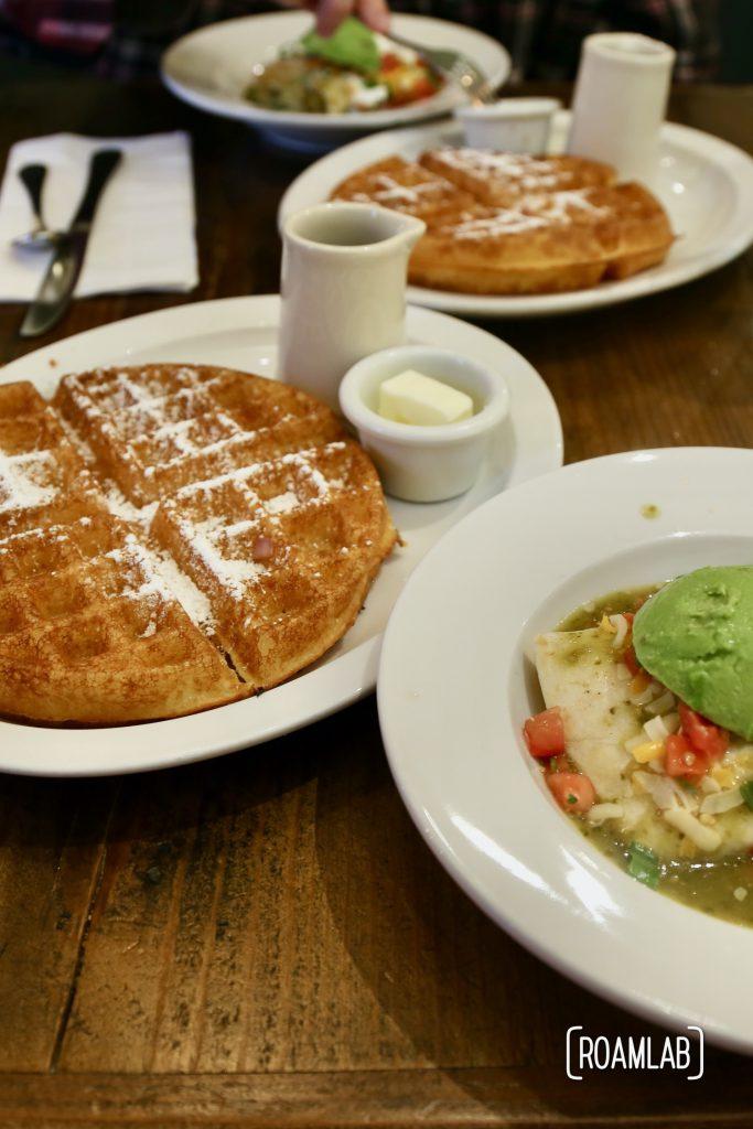 Waffles Breakfast at Grounds, Murphys, Californiaand burritos