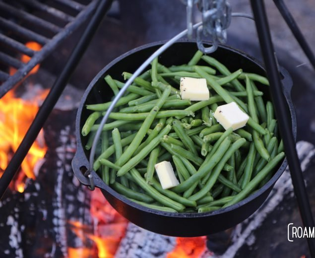 Buttery green beans over the campfire