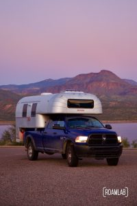 1970 Avion C11 truck camper at sunset