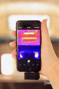 Seek CompactPro thermal camera operating through the Seek Thermal iPhone application.