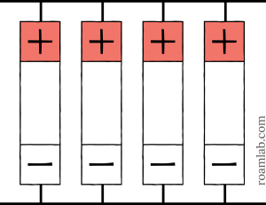 Diagram of battery cells arranged in