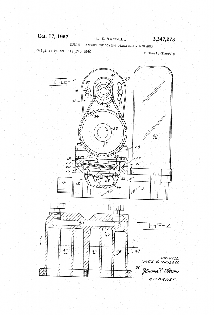 Drawing of Peters & Russell water pump for patent U.S. 3347273