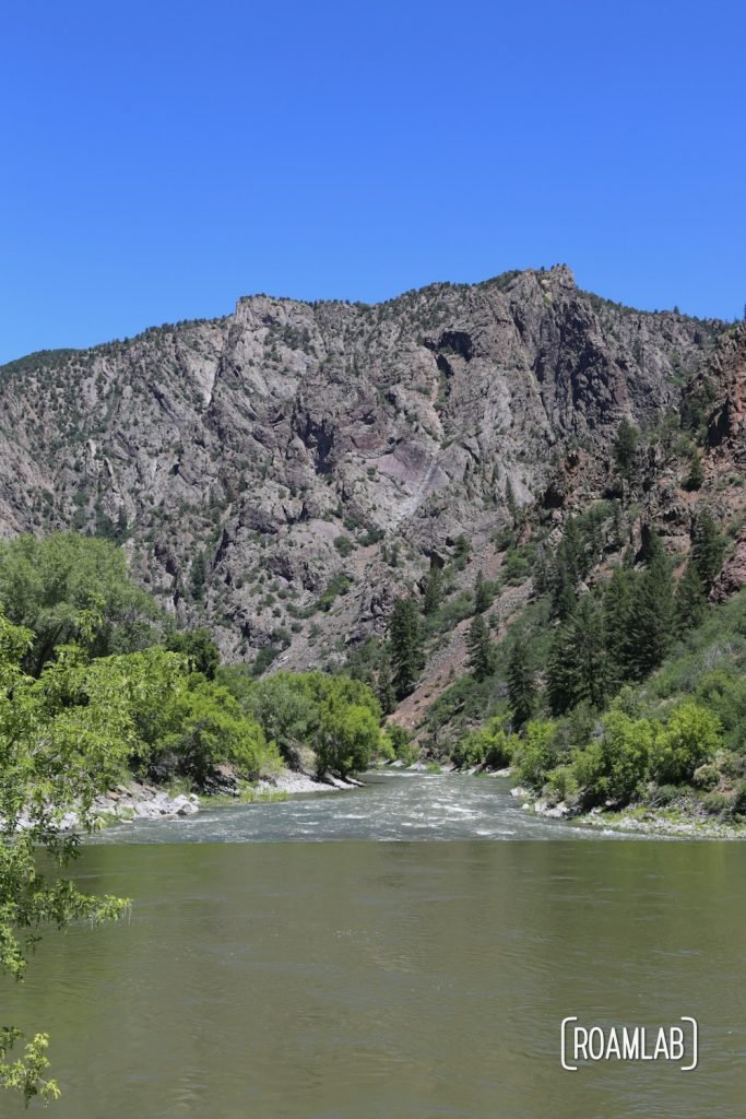 Looking into the canyon along the Gunnison River in Black Canyon of the Gunnison National Park in Colorado