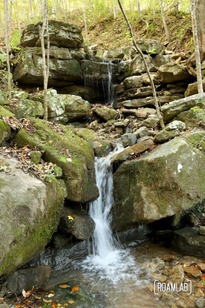 Waterfall along the Ritchie Hollow hiking trail in Prentice Cooper State Forest