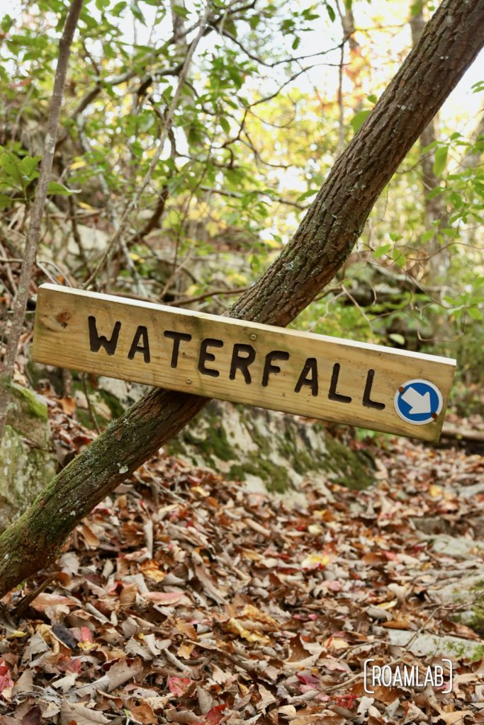 Detour sign for a waterfall