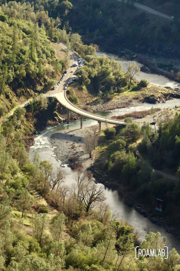 View of Old Foresthill Road crossing the North Fork of the American River as seen from the Foresthill Bridge.