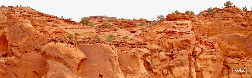 Panorama of California condors perching along the red rocks of Vermillion Cliffs National Monument.