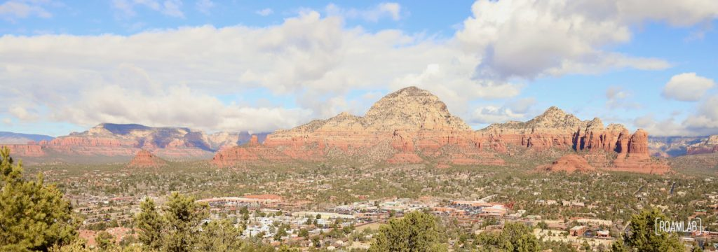 View of Sedona, Arizona from Airport Mesa with red buttes in the distance.
