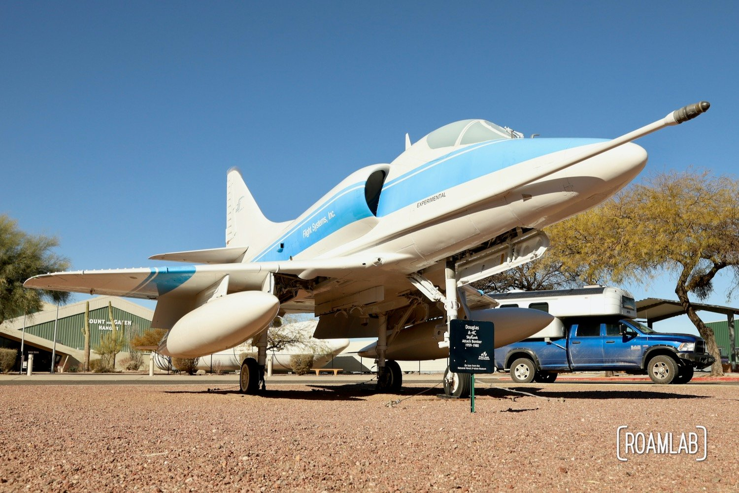 Douglas A-4C Skyhawk Attack Bomber (1959-1980) and a 1970 Avion C11 truck camper in the Pima Air & Space Museum