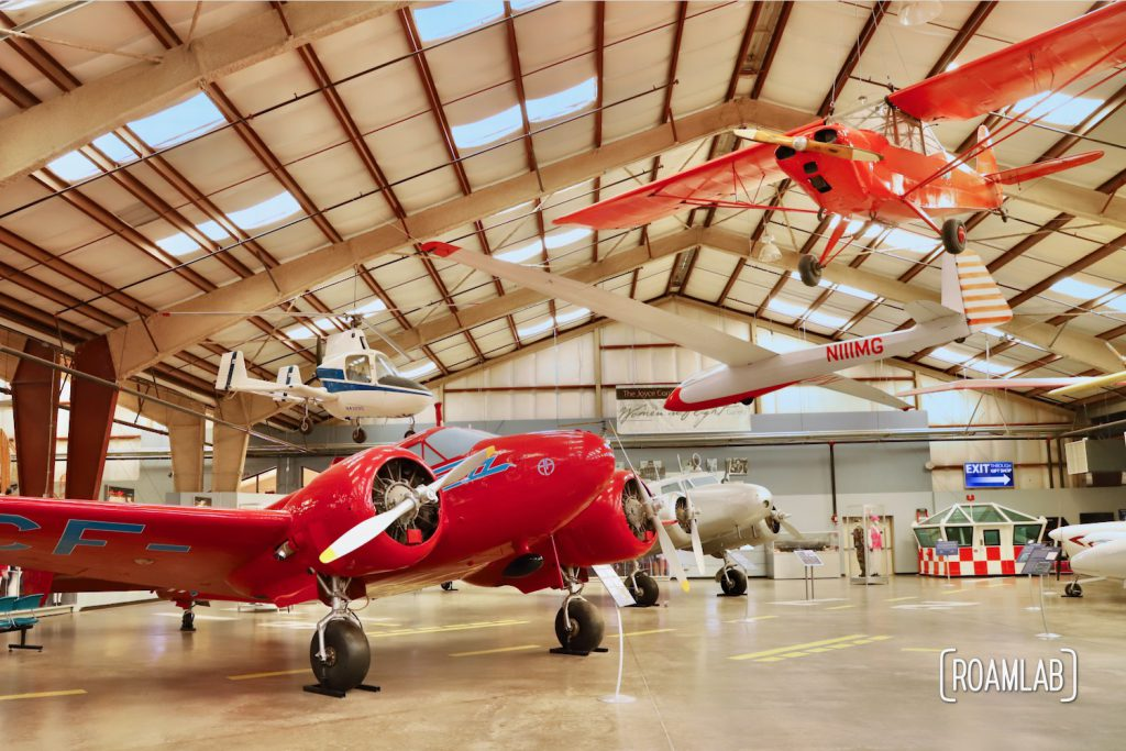 Bright red propellor planes in the