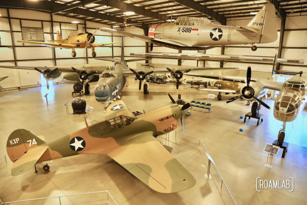 A hangar full of classic military planes at the Pima Air & Space Museum