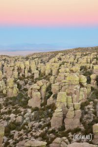 Sunrise over hoodoos at Echo Canyon Loop Trail at Chiricahua National Monument Arizona