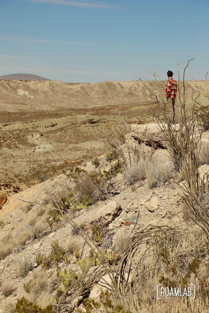 Man in a red plaid shirt standing at the edge of a cliff looking out over Tornillo Flat along Old Ore Road in Big Bend National Park, Texas
