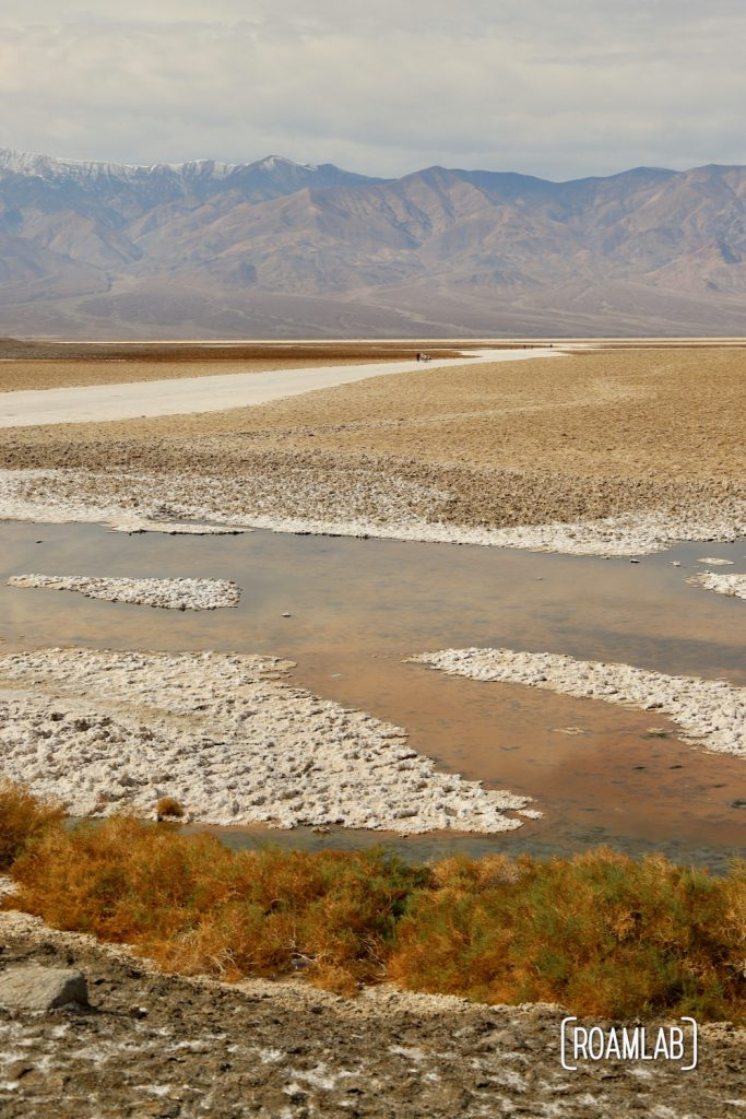 Salty water pond in Death Valley's Badwater dry lake bed.